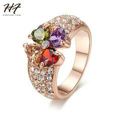 Top Quality R209 Luksusowe Multicolor Kryształ Kwiat Pierścień Róży Złocisty Kolor Austriackie Kryształy Pełnych Rozmiarach Hurtownie