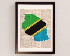 Tanzania Dictionary Art Print - Dar es Salaam Art - Print on Vintage Dictionary Paper - Tanzanian Flag, Mwanza, Arusha, Dodoma, Zanzibar by DictionArt on Etsy https://www.etsy.com/listing/200662713/tanzania-dictionary-art-print-dar-es