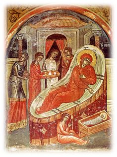 The Nativity of the Theotokos Icon Orthodox Icons, Aboriginal Art, Byzantine Art, Painting, Illuminated Manuscript, Art, Wall Painting