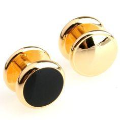 4 Gold Tone Black Tuxedo Shirt Studs Set -- Click here for more details @…