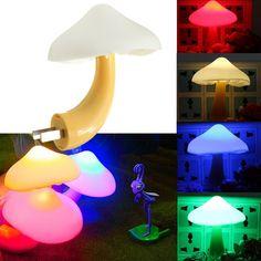 LED Auto Light Control Sensor Mushroom Lamp Bedside Night Light AC110V-250V