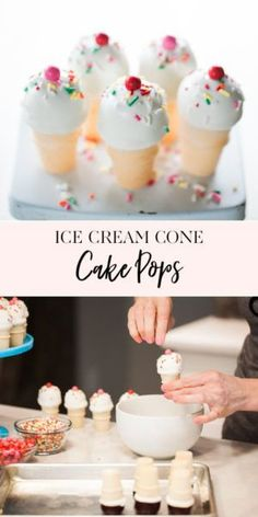 One of my favorite ways to make cake pops are to turn them into mini ice cream cones. There really aren't many things cuter than these tiny cake filled cones. They're the perfect treat for Dessert Party, Party Desserts, Summer Desserts, Mini Ice Cream Cones, Ice Cream Theme, Ice Cream Party, Ice Cream Cupcake Cones, Cake Pops How To Make, Tiny Cake