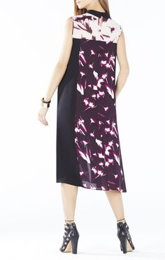 Emerie X-Ray Floral Print-Blocked Dress