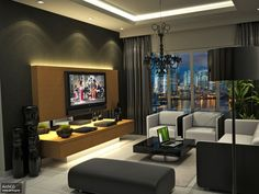 Interior Apartment. Modern Apartment Interior Design Ideas. Dark Themed Modern Apartment Interior Living Room Design Ideas With Wall Mount Brown Painted Wood Tv Unit And Neutral Colored Black And Gray Living Room Furniture Set. Interior Design Of Apartments
