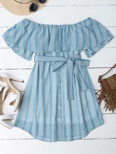 Multi Stripe Off The Shoulder Dress - Blue Xl. Black And White Summer Dresses, Blue Summer Dresses, Cute Summer Outfits, Blue Dresses, Cute Outfits, Casual Outfits, Summer Dresses Online, Dress Outfits, Fashion Outfits