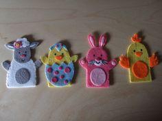 Felt Finger Puppets Spring Animals. Rabbit Baby by MakeStitchKnit
