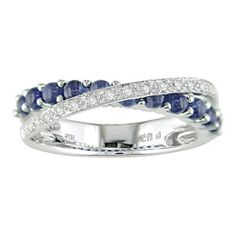 14k Sapphire and diamond twist ring