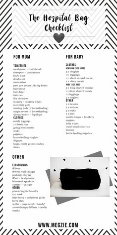 Wondering what to pack in your hospital bag? Here is a free hospital bag checklist that covers everything from mum, baby and a few other extras. #hospitalbag #pregnant #hospitalchecklist #printable #freeprintable