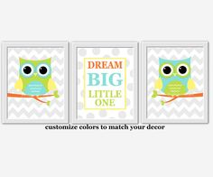 Owl Baby Nursery Wall Art Aqua Lime Green by DezignerheartDesigns