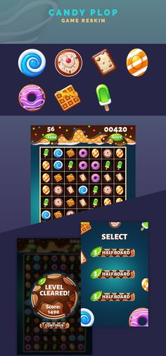 Candy Plop - Game Reskin on Behance Vegas Slots, Game Ui, Game Design, Behance, Candy, Icons, Art, Art Background, Symbols