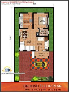 Ground floor plan - 1062 Sq.Ft. 3 bedroom low budget house