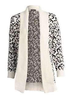 New Womens AW12 Funky Casual Chunky Winter Animal Leopard Print Knit Cardigan