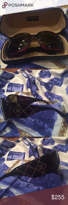 Authentic CHANEL sunglasses with rhinestones EUC CHANEL sunglasses - I have taken great care of these beautiful sunglasses - the frame is the color of dark red wine - rhinestone detail on both arms is intact - no missing stones - no flaws that I can see CHANEL Accessories Glasses