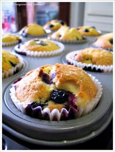 Chic & Gorgeous Treats: Baking Recipe: Blueberry Muffin with Cream Cheese Filling & A Switchup Just Desserts, Delicious Desserts, Dessert Recipes, Yummy Food, Dinner Recipes, Tasty, Blueberry Cream Cheese Muffins, Blue Berry Muffins, Lemon Muffins