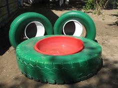Very cute idea! Kindergarten and Mooneyisms: Recycling Old Tires