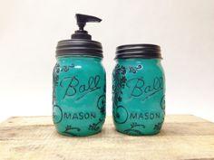 Turqoise Mason Jar Soap Dispenser& Storage Jar Set with Design on Etsy, $45.00