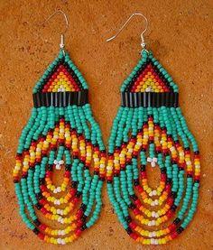 Southwestern American Indian beaded earrings - wonderful colors