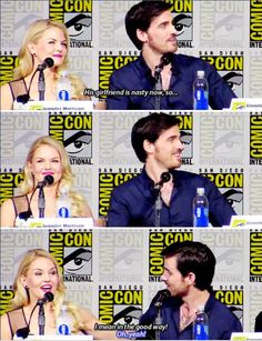 "Colin: ""His girlfriend is nasty now so.. I mean in the good way!"" Jen: ""Oh yeah!""  #SDCC15 #OnceUponATime #Colifer"