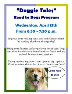 Doggie Tales - Read to a Dog Program at Franklin Public Library