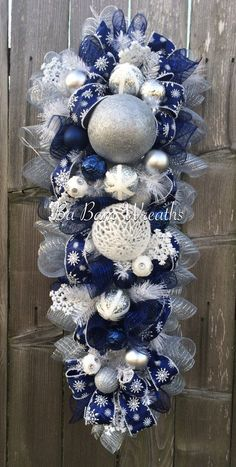 Blue White Christmas Stunning Blue Christmas by BaBamWreaths