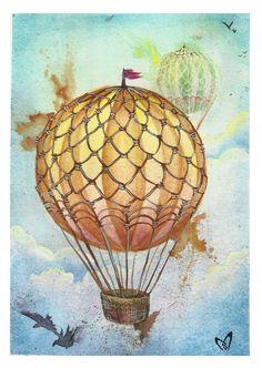 Hot Air Balloon Watercolor Print. $10.00, via Etsy.  I may have to get this