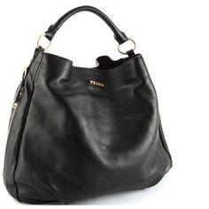 PRADA BR4099 Vitello Daino Leather Shoppers Handbag Purse Shoulder Bag Black