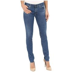 AG Adriano Goldschmied The Stilt in Blue Fragment (Blue Fragment)... ($160) ❤ liked on Polyvore featuring jeans, stretch skinny jeans, zipper jeans, tapered jeans, blue skinny jeans and zipper skinny jeans
