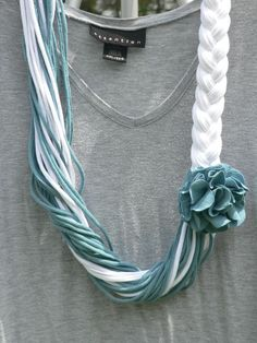muted teal and white upcycled t shirt scarf on etsy
