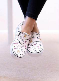 "I Found My Dream Shoes! The Vans Asher Printed Slip-On Sneaker, a.k.a. ""The Makeup Vans"""