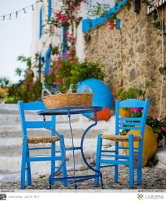 Greece, this pair of table and chairs reminds me of Greece #travel