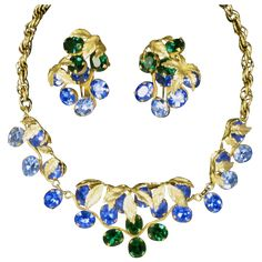 1950's Napier Vintage Rhinestone Necklace and Huge Earrings offered by Ruby Lane shop The Vintage Jewelry Boutique
