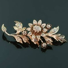 Antique jewelry Dutch Victorian gold flower branch brooch covered with rose cut diamonds