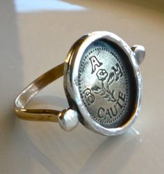 Men's Signet Ring With Your Own Design-Logo-Personalized Jewelry. Via Etsy.... for Bear.