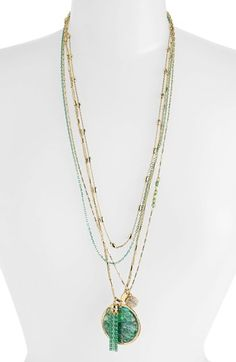 $32, Green Pendant: Sara Bella Multistrand Disc Pendant Necklace Green Gold. Sold by Nordstrom.