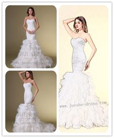 Mermaid Strapless Sweetheart Organza Wedding Dress JS-W001
