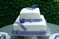 A wedding cake with lavender