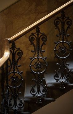 Raindrops and Roses Iron Stair Railing, Wrought Iron Stairs, Staircase Railings, Banisters, Stairways, Balcony Railing, Railing Design, Staircase Design, Escalier Design