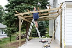 Pergola diy attached to house carport plans 42 best ideas