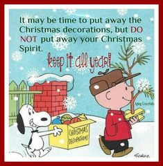 It may be time to put away the Christmas decorations, but DO NOT put away your Christmas Spirit. Keep it all year! Go Snoopy! Christmas Quotes, Christmas Pictures, Christmas Humor, Christmas Fun, Christmas Decorations, Christmas Scenes, Xmas, Christmas Goodies, Christmas Printables