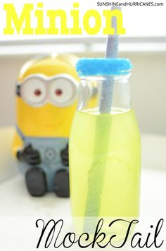 Planning a Minion Birthday Party or just looking for a little everyday minion fun? This Minion Mocktail is simple to make and is perfect for any   Minion or Despicable Me Occasion. Minion Mocktail. SunshineandHurricanes.com