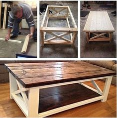 Ideas How To Make A Coffee Table Using DIY Coffee Table Plans Coffee table made easy! The post Ideas How To Make A Coffee Table Using DIY Coffee Table Plans appeared first on Pallet Diy. Diy Coffee Table Plans, X Coffee Table, Rustic Coffee Tables, Rustic Table, Country Coffee Table, Wood Table, Rustic Kitchen, Diy Kitchen, How To Build Coffee Table