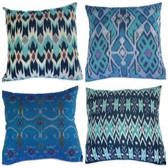 Four Indonesian ikat pillow covers in Aqua,Teal, Turquoise, Set of 4, 16x16. by ginette1223. via etsy