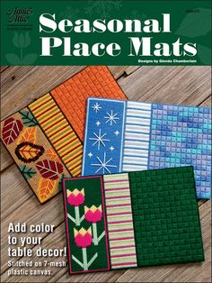Seasonal Place Mats in plastic canvas patterns
