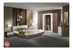 NAPOLI Schlafzimmer II Nussbaum/Weiß