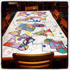 """ Art table doodle in progress in our library - loving the collaboration and the relaxed concentration"" Group Art Projects, School Art Projects, Collaborative Art Projects For Kids, High School Art, Middle School Art, Classe D'art, Ecole Art, Art Lessons Elementary, Art Classroom"