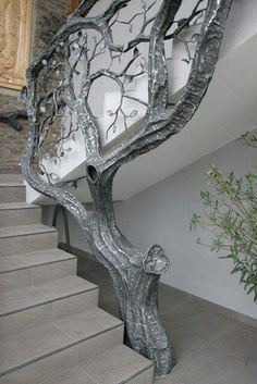- Stairway Designs & Ideas - Tree railing / bannister in silver, growing beside staircase. Tree railing / bannister in silver, gr. Interior And Exterior, Interior Design, Design Art, Interior Stairs, Interior Concept, Bannister, Stair Railing, Railing Ideas, Railings