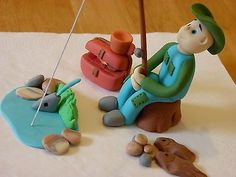 Fishing fisherman edible sugar paste #decoration cake cupcake #topper #birthday,  View more on the LINK: 	http://www.zeppy.io/product/gb/2/181774389722/