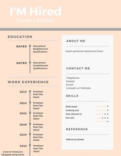 5 CV samples to show you how to make your CV unique and tailored. Whether you want a detailed resume or to be a bit more creative then make yourself stand out from other applicants. Cv Tips, Resume Tips, Cv Unique, List Of Skills, Timeline, Career, Templates, Education, Website