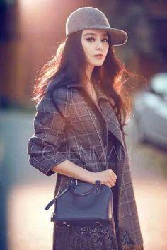Fan bingbing asia china fashion oversized checkered coat grey