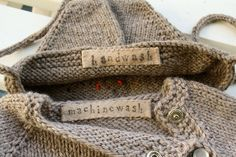 handmade labels for hand knits!